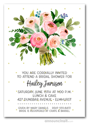 Pink Floral Bouquet Bridal Shower Invitations