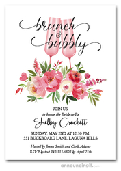 Peonies Champagne Brunch Bubbly Bridal Shower Invites