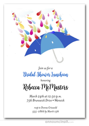 Raindrops Blue Umbrella Bridal Shower Invitations