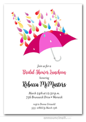 Raindrops Pink Umbrella Bridal Shower Invitations