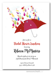 Raindrops Red Umbrella Bridal Shower Invitations