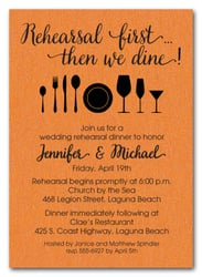 Rehearsal First Orange Shimmery Party Invitations