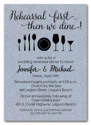 Rehearsal First Silver Shimmery Party Invitations