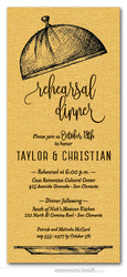 Serving Cloche Rehearsal Dinner Invitations on Shimmery Gold