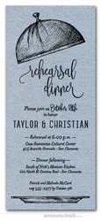 Serving Cloche Rehearsal Dinner Invitations on Shimmery Silver