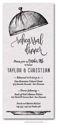 Serving Cloche Rehearsal Dinner Invitations on Shimmery White