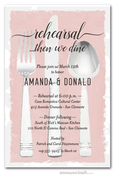 Flatware on Dusty Rose Rehearsal Dinner Invitations