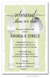 Flatware on Lime Rehearsal Dinner Invitations