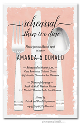 Flatware on Peach Rehearsal Dinner Invitations