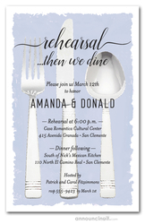 Flatware on Periwinkle Rehearsal Dinner Invitations