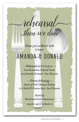 Flatware on Sage Rehearsal Dinner Invitations