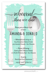 Flatware on Turquoise Rehearsal Dinner Invitations