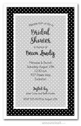Simple White Dots on Black Bridal Shower Invitations