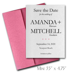 Simplicity Mini Save the Date Cards Wedding / HOT PINK Envelopes