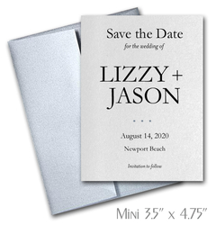 Simplicity Mini Save the Date Cards Wedding / SILVER Envelopes