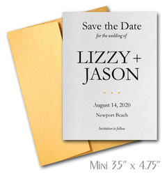 Simplicity Mini Save the Date Cards Wedding / GOLD Envelopes