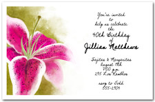 Stargazer Lily Party Invitations