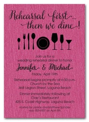 Rehearsal First Hot Pink Shimmery Party Invitations