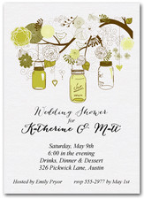 Tree of Green Mason Jars Bridal Shower Invites