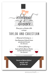 Waiter, Wine & Black Table Rehearsal Dinner Invitations
