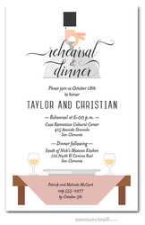 Waiter, Wine & Blush Pink Table Rehearsal Dinner Invitations
