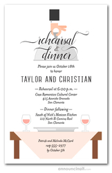 Waiter, Wine & Cream Table Rehearsal Dinner Invitations