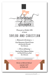 Waiter, Wine & Misty Rose Table Rehearsal Dinner Invitations