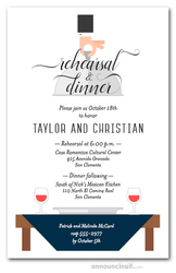 Waiter, Wine & Navy Table Rehearsal Dinner Invitations
