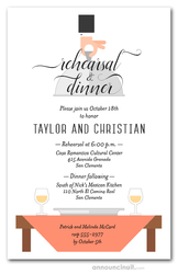 Waiter, Wine & Peach Table Rehearsal Dinner Invitations