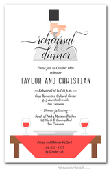 Waiter, Wine & Red Table Rehearsal Dinner Invitations