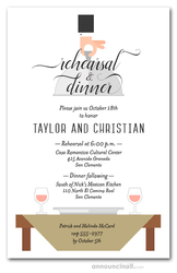 Waiter, Wine & Sage Table Rehearsal Dinner Invitations