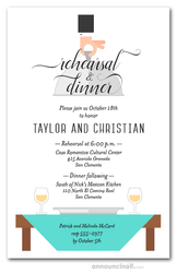 Waiter, Wine & Tiffany Table Rehearsal Dinner Invitations