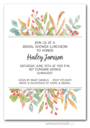 Warm Leaves and Berries Bridal Shower Invitations