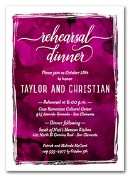 Fuchsia Watercolor Rehearsal Dinner Invitations