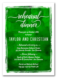 Greens Watercolor Rehearsal Dinner Invitations