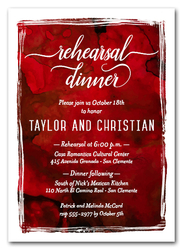 Reds Watercolor Rehearsal Dinner Invitations