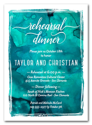 Turquoise Watercolor Rehearsal Dinner Invitations
