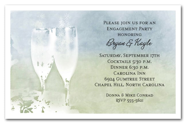 champagne flutes toast party invitations