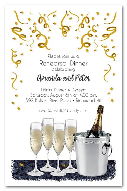 champagne bucket wedding rehearsal dinner party invitations