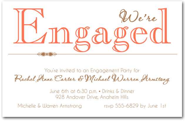 Coral Were Engaged Party Invitations