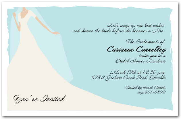 Graceful gown on blue bridal shower invitation for Wedding dress bridal shower invitations