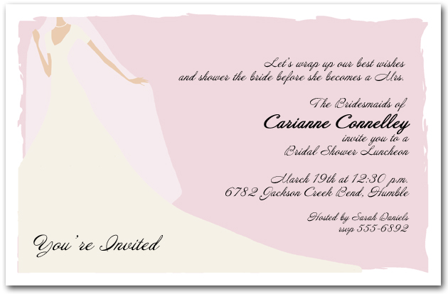 Graceful gown on pink bridal shower invitation pink graceful gown bridal filmwisefo