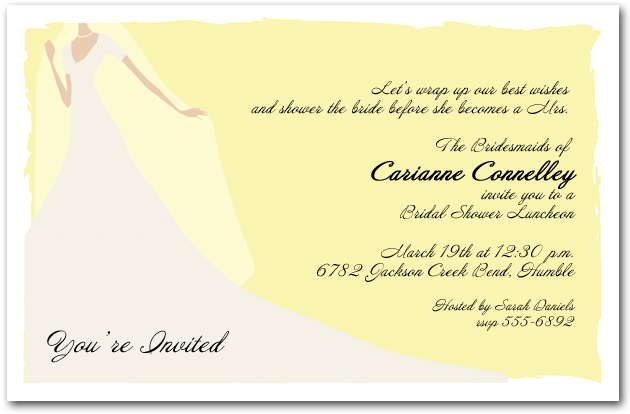 Graceful gown on yellow bridal shower invitation for Yellow bridal shower invitations