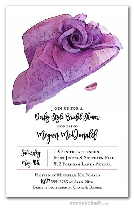 Wedding Shower Invites.Floral Lilac Hat Derby Bridal Shower Invites