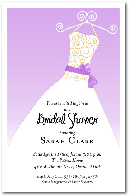 Lilac Ribbon Sash On White Gown Invitations Bridal Shower