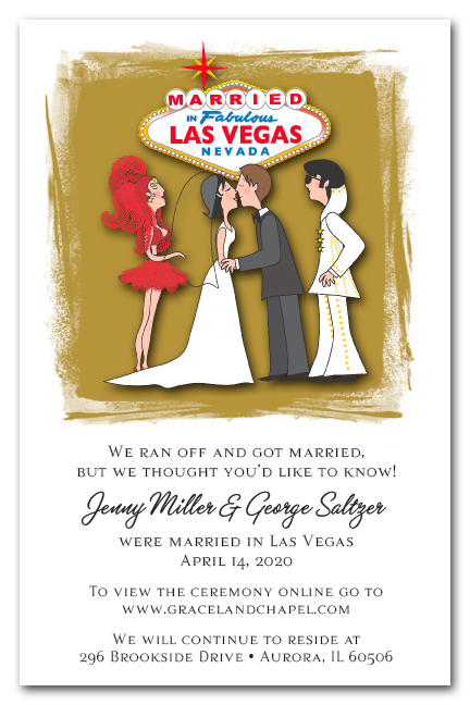 married in las vegas with elvis elopement announcements