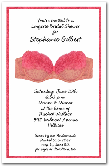 Pink Bra Lingerie Bridal Shower Invitations, Lingerie ...