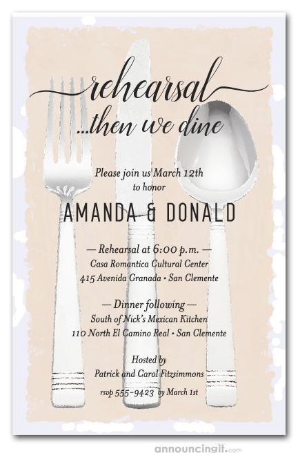Flatware on Cream Wedding Rehearsal Dinner Party Invitations