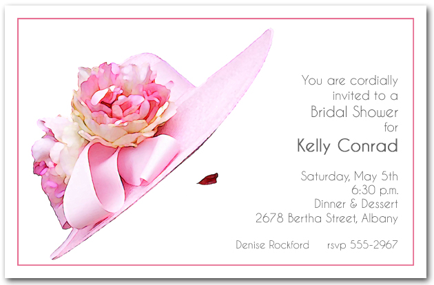 stunning pink floral hat party invitations