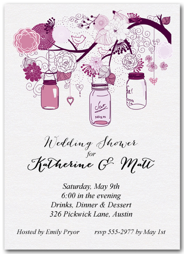 tree of purple mason jars wedding shower invitations